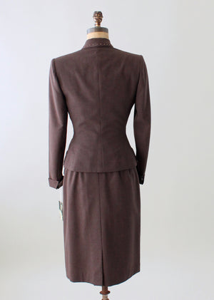 Vintage 1940s Brown Wool Power Suit