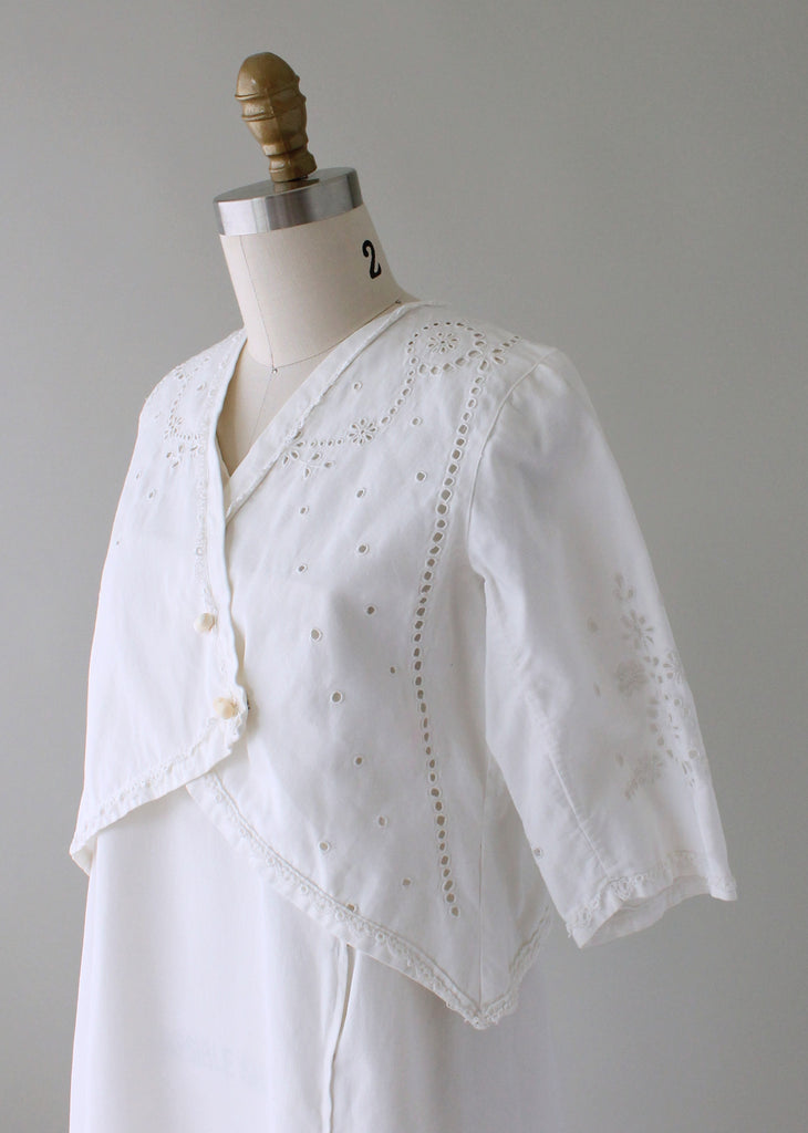Antique 1910s Cotton and Lace Lawn Dress and Jacket | Raleigh Vintage