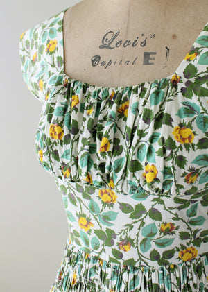 Vintage 1950s Vicky Vaughn Floral Cotton Summer Dress