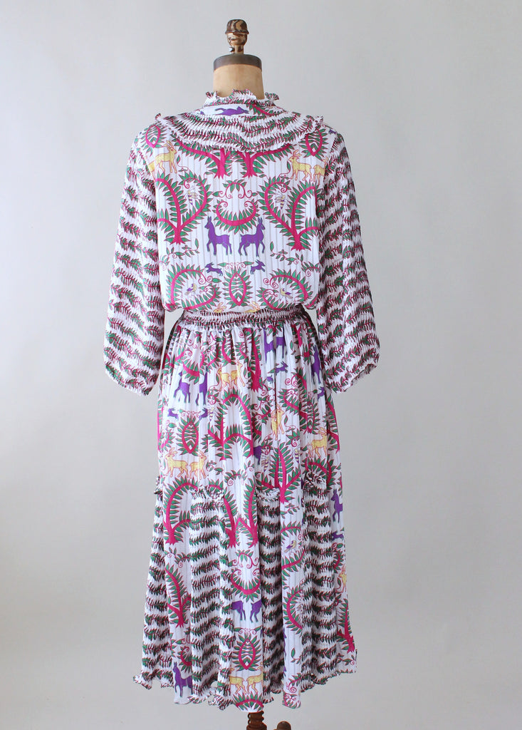 Vintage 1980s Colorful Animals Novelty Print Dress