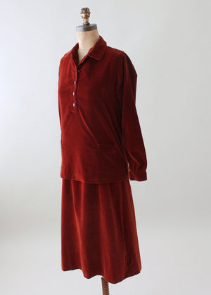 Vintage 1920s Chic Two Piece Velvet Day Dress