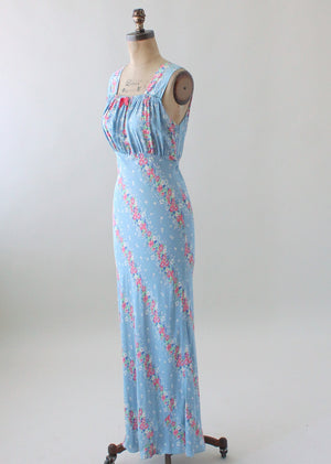 Vintage 1940s Blue Floral Gown with Matching Robe