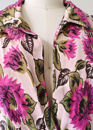Vintage Early 1940s Fuchsia Floral Jersey Day Dress