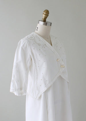 Antique 1910s Cotton and Lace Lawn Dress and Jacket