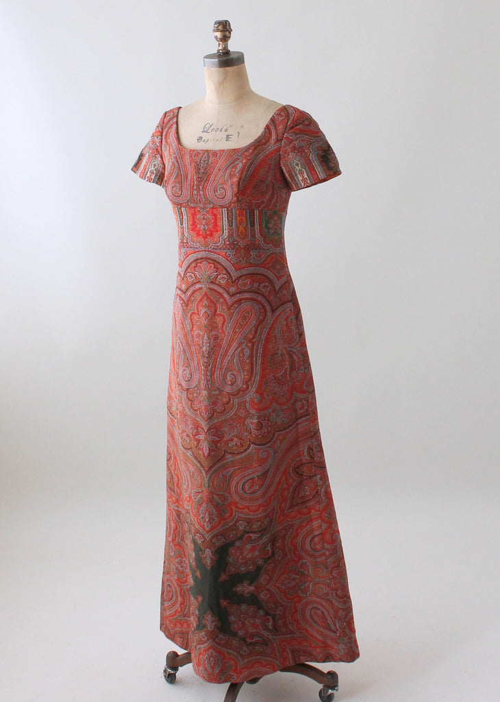 Vintage 1960s Victorian Paisley Shawl Remade Dress