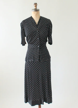 Vintage 1930s Black Polka Dot Rayon Jersey Suit Dress