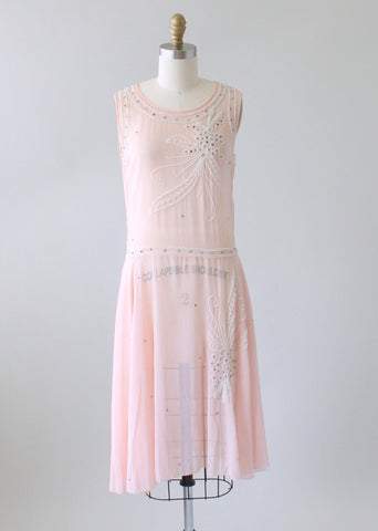 Vintage 1920s Beaded Pink Silk Chiffon Party Dress
