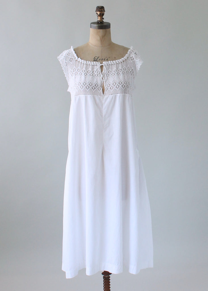 Vintage 1920s Crochet And Cotton Summer Dress Raleigh Vintage