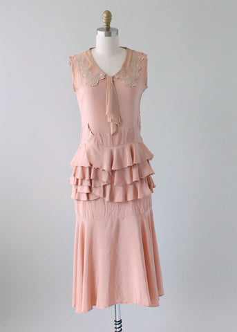 Vintage 1920s Nude Silk Dress with Ruffled Waist