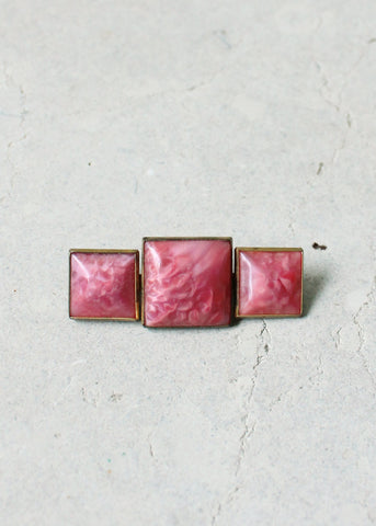 Vintage 1920s Pink Glass Art Deco Brooch