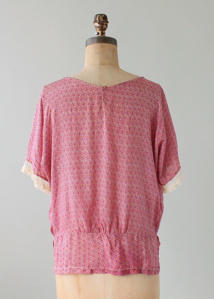 Vintage 1920s Pink Print Silk and Lace Blouse
