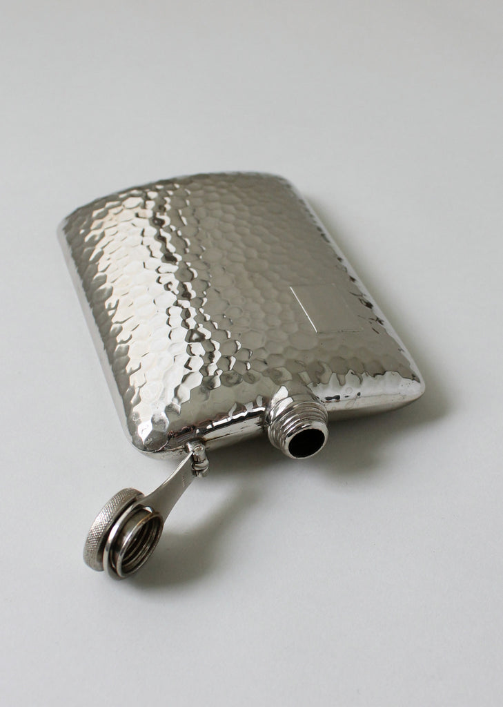 Vintage 1930s German Hammered Nickel Flask