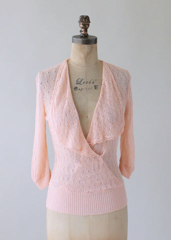 Vintage 1930s Peach Knit Summer Sweater
