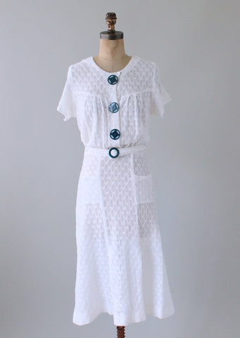 Vintage 1930s White and Blue Knit Dress