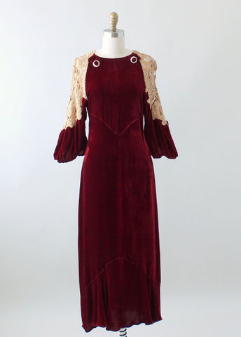 Vintage 1930s Red Velvet and Lace Evening Dress