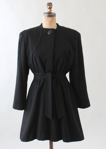 Vintage 1940s Black Wool Car Length Princess Coat