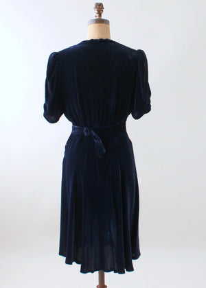 Vintage Early 1940s Embellished Blue Velvet Party Dress