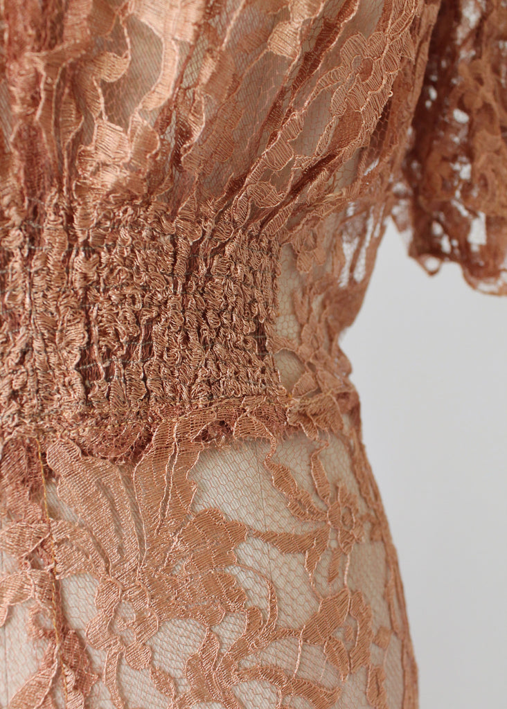 Vintage 1940s Mocha Lace Evening Dress
