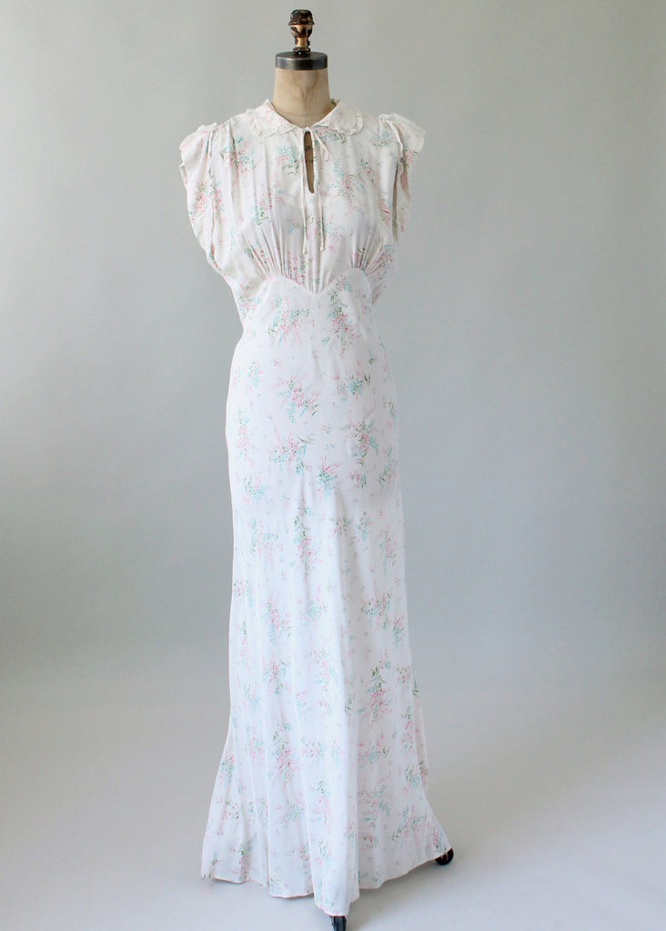 Vintage 1940s Textron Floral Rayon Bias Cut Gown | Raleigh Vintage