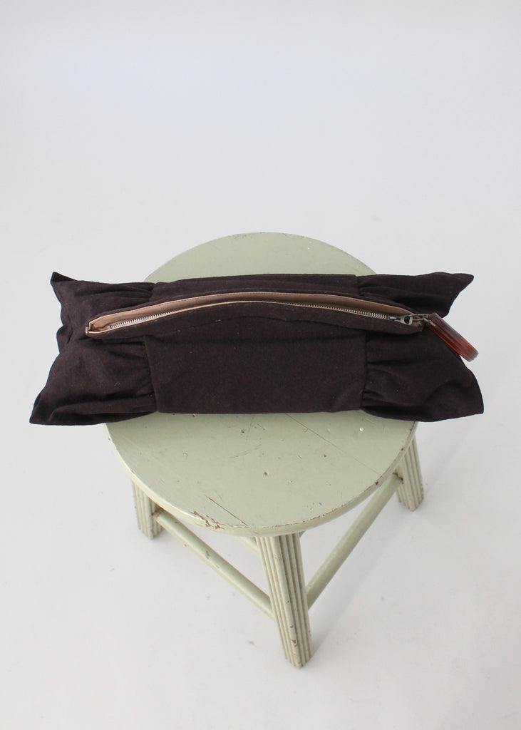 Vintage 1940s Large Brown Wood Clutch with Plastic Holder