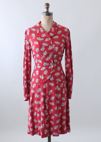 Vintage 1940s Hats Novelty Print Rayon Suit