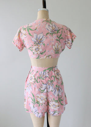 Vintage 1940s Two Piece Pink Floral Playsuit