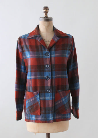 Vintage 1940s Blue and Red Plaid 49er Jacket