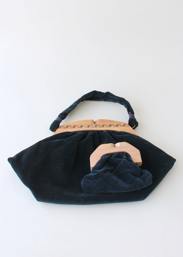 Vintage 1940s Blue Velvet Purse with Inlaid Wood Frame