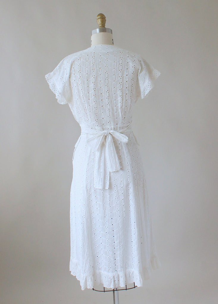 Vintage 1940s White Eyelet Summer Dress Raleigh Vintage