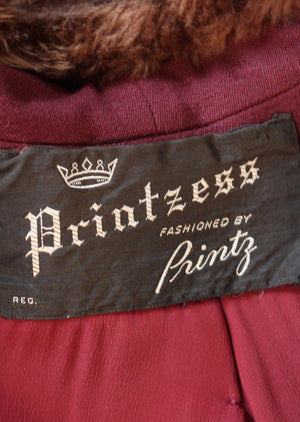Vintage 1940s Printzess Swing Coat with Faux Fur