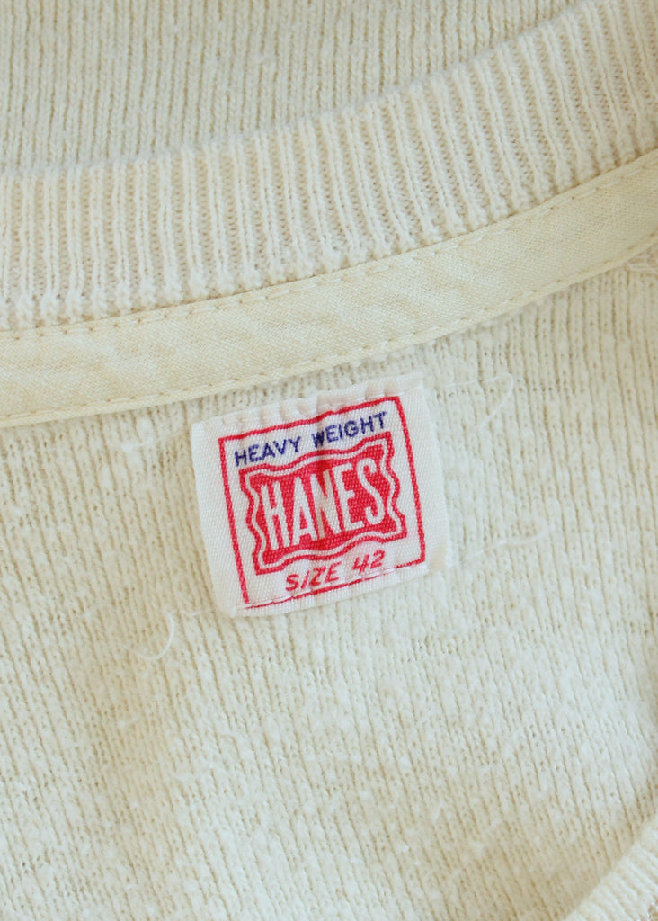 Vintage 1950s Hanes Thermal Henley Tshirt