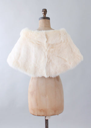 Vintage 1950s White Fur Wedding Shawl Cape