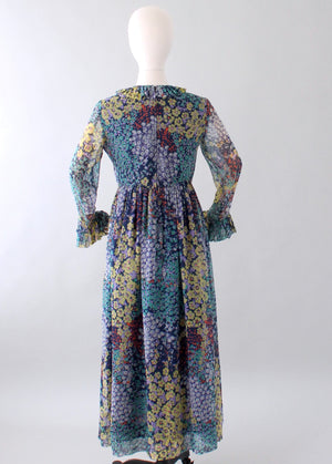 Vintage 1960s Floral Chiffon Long Sleeve Maxi Dress