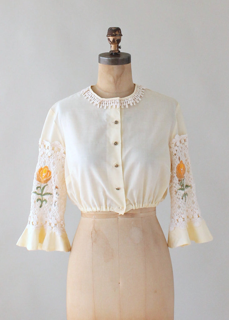 Vintage 1960s Cropped Blouse with Lace Sleeves