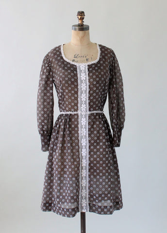 Vintage 1960s Pixie Girl Sheer Flower Dot Day Dress