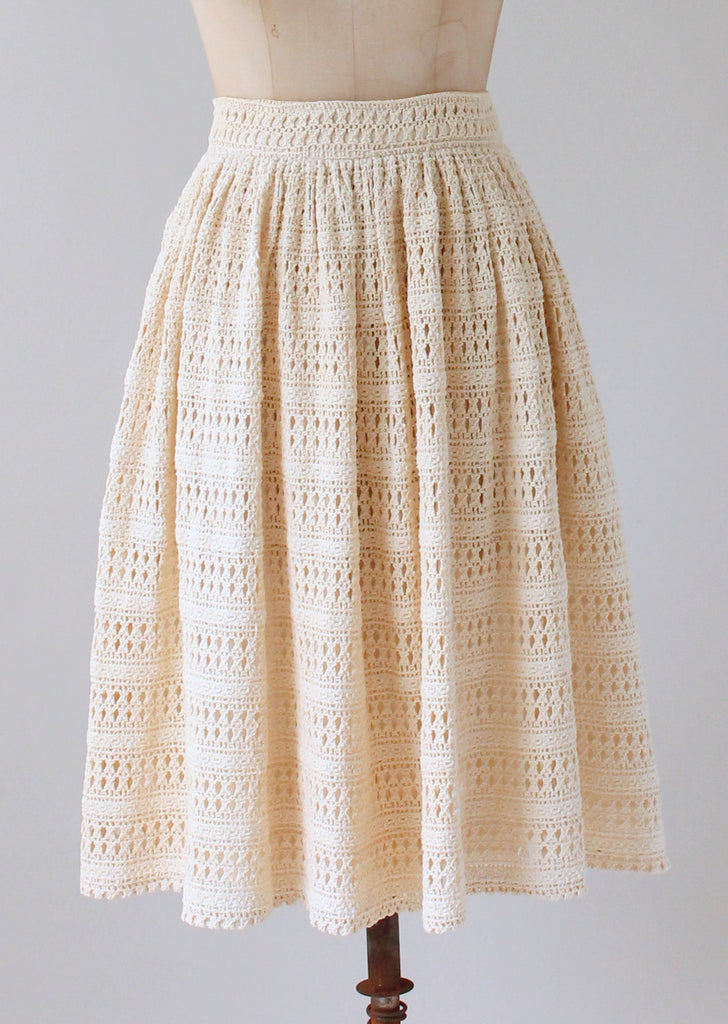 Vintage 1960s Bill Atkinson Lace Knit Skirt Raleigh Vintage