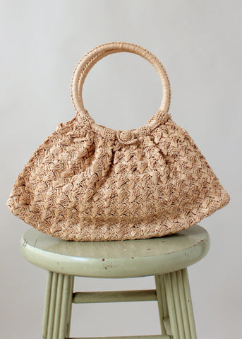 Vintage 1960s Ritter Woven Straw Purse