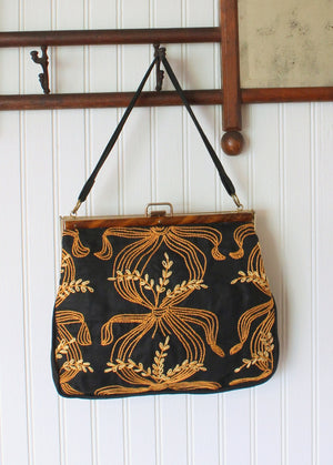 Vintage 1960s Gold and Black Embroidered Cotton Purse