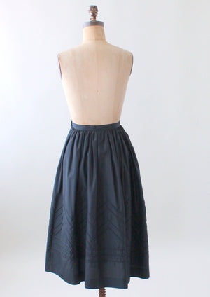 Vintage 1970s Embroidered Black Nylon Skirt