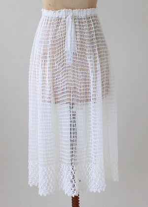 Vintage 1970s White Crochet Knit Skirt