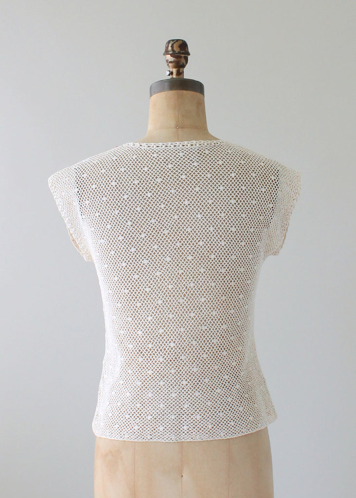 Vintage 1970s Floral Applique Knit Top
