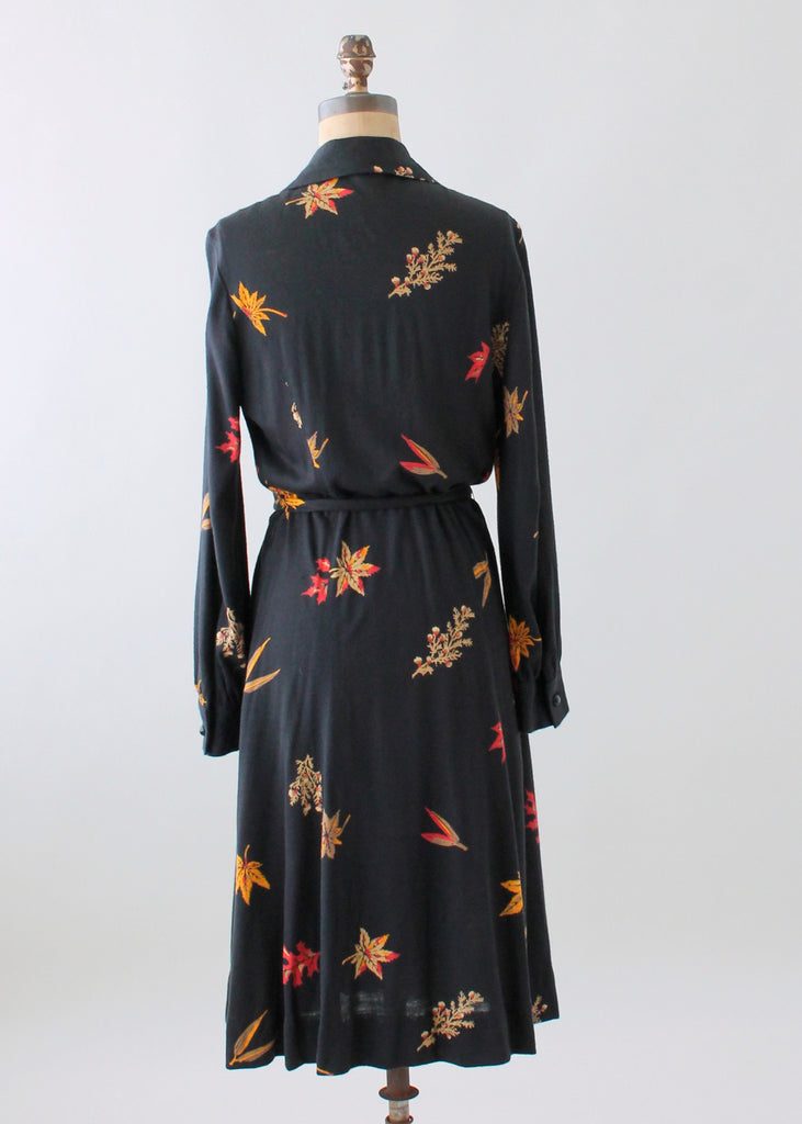 Vintage 1970s Leaf Print Cotton Jersey Wrap Dress