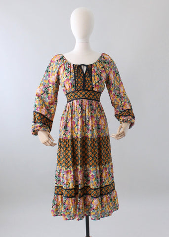 Vintage 1970s Mixed Florals Peasant Dress