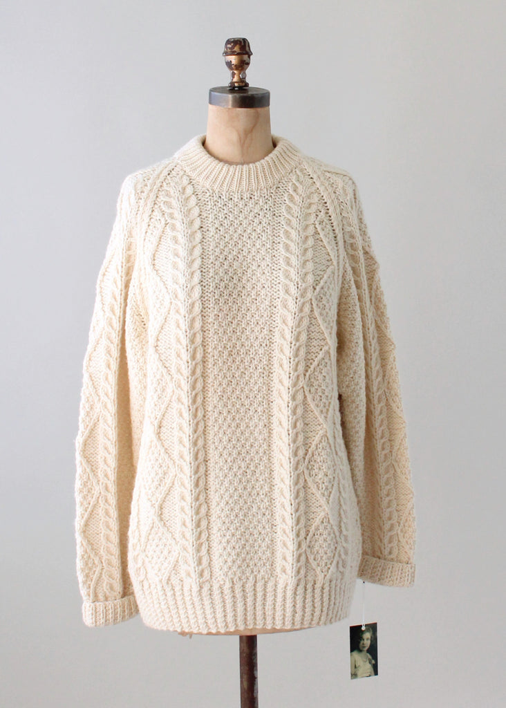 Vintage 1970s Oversized Wool Fisherman Sweater