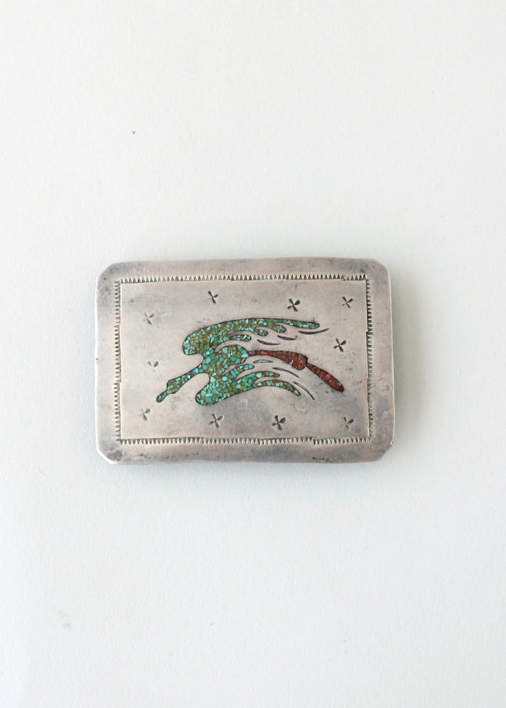 Vintage 1970s Silver Belt Buckle and Turquoise Inlay