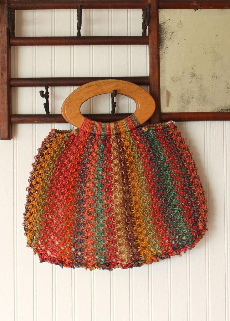 Vintage 1970s Color Striped Woven Straw Purse Raleigh