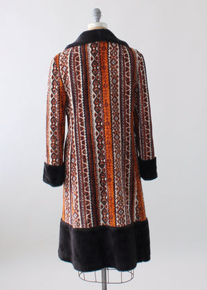 Vintage 1970s Carpet Tapestry Coat with Faux Fur Trim