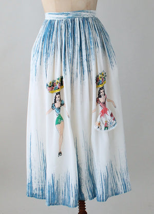 Vintage 1980s Peekaboo Girl Summer Skirt