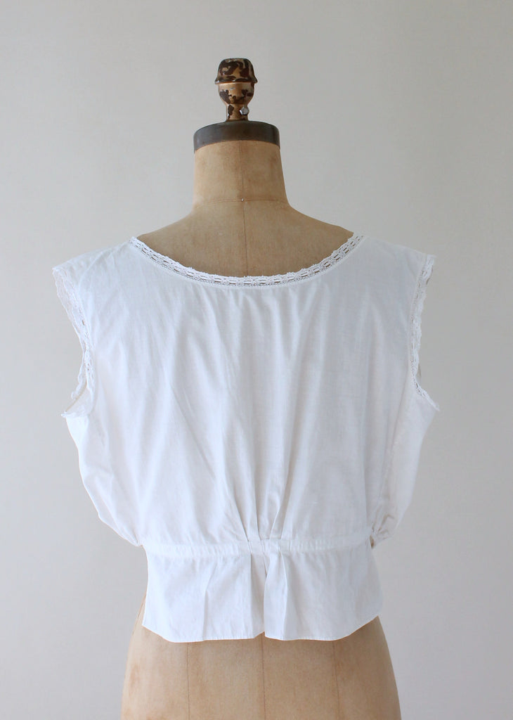 Edwardian White Cotton Button Front Corset Cover Tank Top