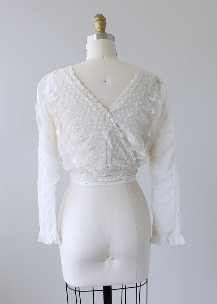 Antique Edwardian Embroidered Mesh Lace Blouse